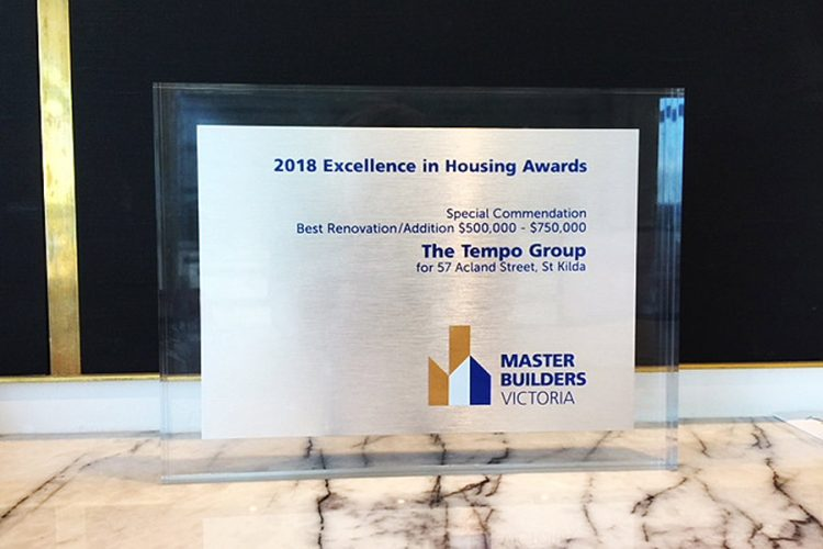 Tempo Group 2018 MBAV Excellence in Housing Awards Special Commendation