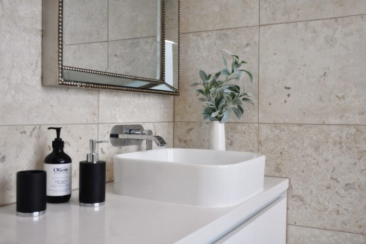 Bathroom vanity at Belvedere Road home in Somers