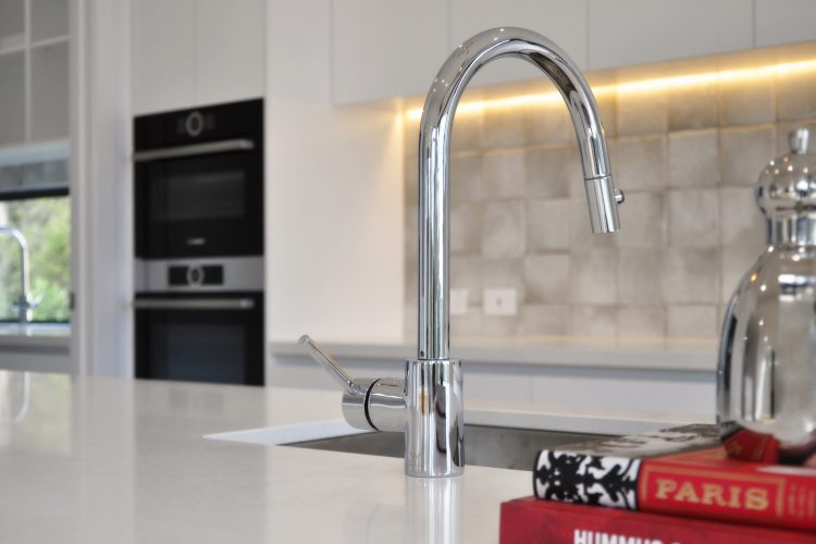 Tapware in kitchen at Belvedere Road home in Somers