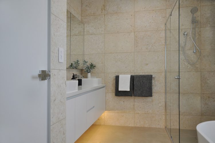 Family bathroom at Belvedere Road home in Somers
