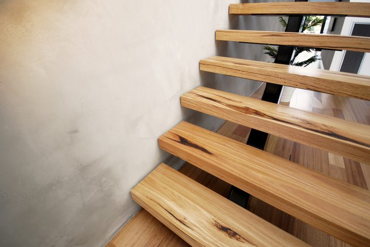 Timber stairs at Carnoustie Rd townhouse, Mornington