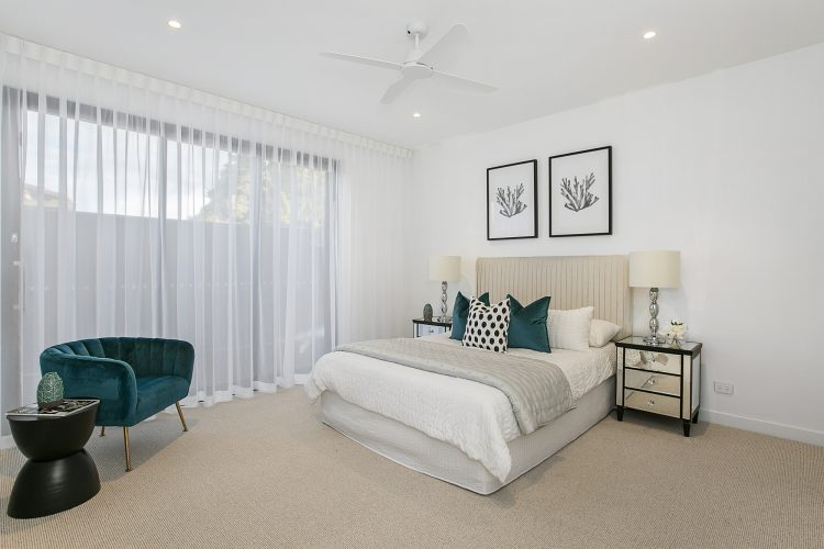 Master bedroom at Carnoustie Rd townhouse, Mornington