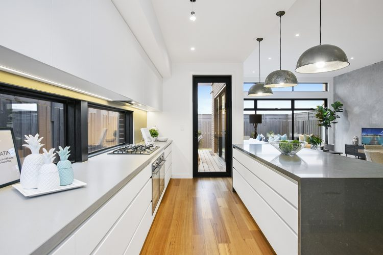 Stone benchtops at Carnoustie Rd townhouse, Mornington