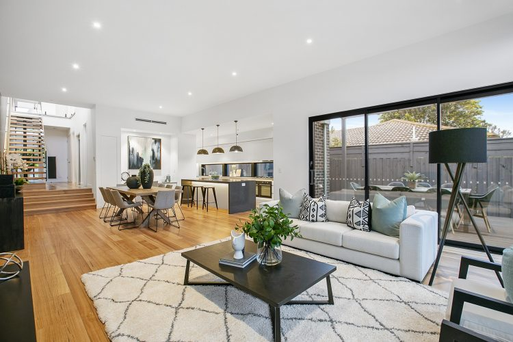 Family room at Carnoustie Rd townhouse, Mornington