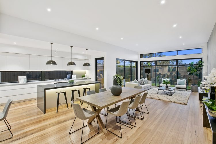 Dining area at Carnoustie Rd townhouse, Mornington